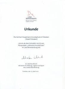Inclusive Schule_urkunde 2012